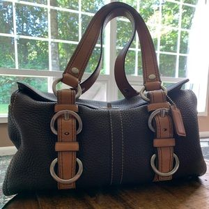Coach Chelsea Kiss Lock Handbag Brown/Silver